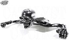 """Chrome Skull Headlight Ornament for Harley 7"""" Headlight Visor Skeleton Accent"""
