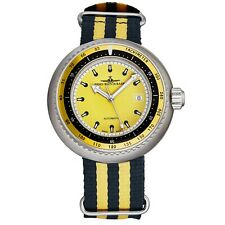 Zeno Men's Diver Yellow Dial Striped Fabric Strap Automatic Watch 500-2824-I9