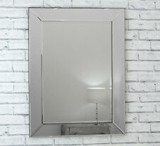 "Lara Silver Glass Framed Rectangle Bevelled Wall Mirror 32"" x 23"""