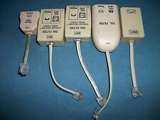 Lot of 5 in Line DSL Filters For Rotary Or Touch Tone Phones, For Parts!!