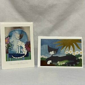 Hallmark Art Card Rosina Wachtmeister - 2 Blank Inside Cat Greeting Cards