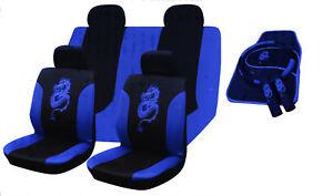 15Pcs DRAGON CAR SEAT COVERS FLOOR MAT SET RRP£29 BLUE