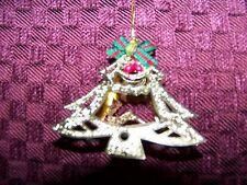 Vintage die cut filigree 3D CHRISTmas tree reindeer ornament gold tone ribbon