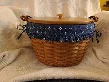 1996 Longaberger Wildflower Basket Classic Blue Liner Protector Leather Handles