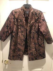 ALEX EVENINGS 3/4 Slv Black/Bronze Shimmer 2-Piece Tank Top & Jacket ~ Size XL