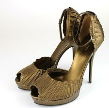 New Authentic Gucci Taryn Platform Pumps Sandal w/Strap,Bronze, 39/9, 283462