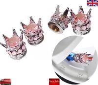 Silver Crown Light Pink Diamond  Car Tire Tyre Valve Dust Caps Covers Tire Set 4