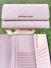 Michael Kors Jet Set Travel PVC Large Trifold Wallet Fawn MK Ballet Pink