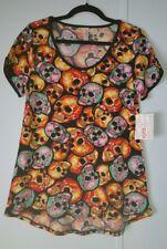 Lularoe Halloween Classic T Tee ~ Small ~ Multi-Color Skulls ~ Brand New ~ HTF