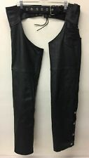 Men's Interstate Leather Black Motorcycle Chaps S