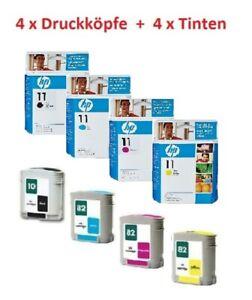 4x Original Druckkopf HP Nr. 11  + 4x Tinte Nr. 10 + 82 Designjet 500 800 815 PS