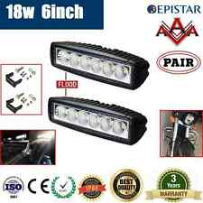 2x 6inch 18W LED WORK DRIVING LIGHT BAR OFFROAD FLOOD CAR AUTO BOAT ATV 4WD LAMP