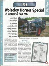VOITURE WOLSELEY HORNET SPÉCIAL FICHE TECHNIQUE AUTO 1933 COLLECTION CAR