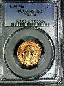 HISPANIC HERITAGE MONTH EXTENDED SALE-1959-Mo PCGS MS65RD MEXICO 10c COIN KM-433
