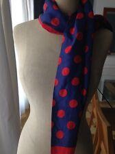 Echarpe foulard soie marine à poids rouge vintage