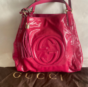 Gucci Soho Shoulder Bag Strap Tote Fuchsia Pink medium