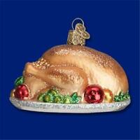 TURKEY PLATTER OLD WORLD CHRISTMAS GLASS THANKSGIVING THEME ORNAMENT NWT 32201
