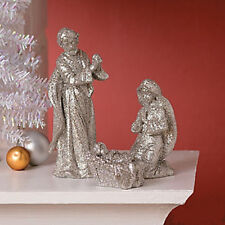 Deluxe Silver Glitter Nativity NEW IN BOX Christmas Set of 3