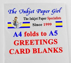 50 x A4 folds to A5 Greetings Card Blanks 240g Gloss/Matte Free C5 Envs