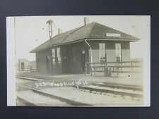 Woodville Wisconson WI Railroad Train Depot Real Photo Postcard RPPC c1913