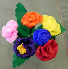 Mexican Paper Flowers Multicolor set of 6 / Crafts/ Party