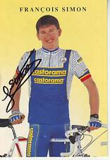 carte cycliste FRANCOIS SIMON équipe CASTORAMA 1991 signée