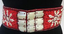 Elegante impresionante Tribal Rojo Blanco Multi Bead cinturón Nuevo Único impresionante (b1)