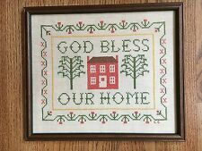 Sampler Cross Stitch Embroidery God Bless Our Home Vintage Wood Frame