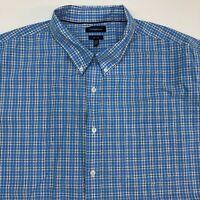 Croft & Barrow Button Up Shirt Men's 2XL XXL Tall Short Sleeve Blue White Plaid