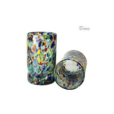 Confetti Multicolored Highball Glass, hand blown Juice Glass 10 oz