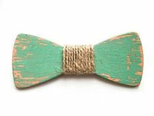 SALE 1+1=3 Handmade bow tie. Clear leather. Wood Men wooden wedding