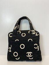 Rare Vtg Chanel Black 1997 CC Logo Cotton Bag
