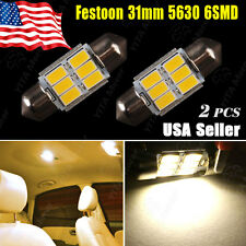 2X Warm White Festoon 31MM 5630 6SMD High Power Map Dome Door Interior LED Light