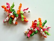 Gymboree Girls Hair Clips x 2 - Orange, White, Green and Pink, Brand New (G13)