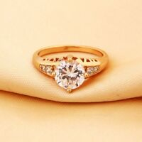 Exquisite Topaz Crystal Gemstone 18K Yellow Gold Filled Solitaire Ring For Women