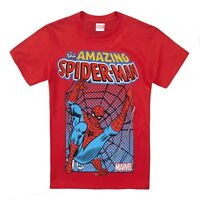 Official Marvel Comics Boys T-shirt Spiderman - Kids Superhero Tops - Red