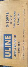 "New listing Uline S-10978 12 x 14"" 3 Poly Clear Plastic 1000 /Ctn"