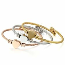 Women's Adjustable Stainless Heart Charm Twisted Wire Cuff Bangle Bracelet 3pcs
