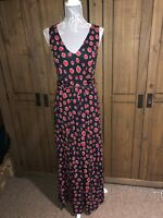 HOBBS LADIES SPOTTY BLACK RED JERSEY MAXI DRESS SIZE 10 FLATTERING STYLE