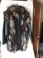 Abrigo Vintage. Piel Talla 42.  Piel Con Detalle Piel Pelo