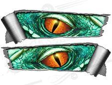 Par De Laminado posterior Ripped Torn Metal efecto Monster Ojos Vinilo coche pegatinas