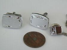 VNTG STERLING SILVER FROSTED DIAMOND CUT RECTANGULAR CUFFLINKS & TIE TACK