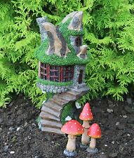 Solar Powered Decorative Garden Ornament Fairy Tree Log House & Mushrooms