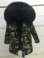 100 Real Large Fur Collar Hooded Parka Winter Warmth Women Warm Jacket Coat Black Rose Red Purple Asian 3xl