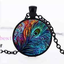 Peacock Feather Photo Cabochon Glass Black Chain Pendant Necklace