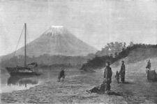 FUJIYAMA. Volcano Fusiyama, the Sacred mountain of Japan, antique print, 1881