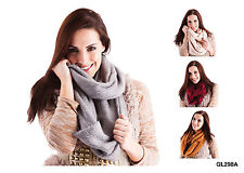 RJM Ladies Knitted Leopard Scarf with Metallic Thread
