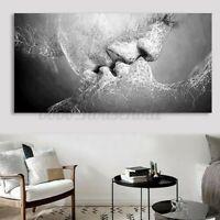 Abstrakt Kunst Schwarz & Weiß Liebe Kuss Leinen Malerei Druck Plakat Bild UK
