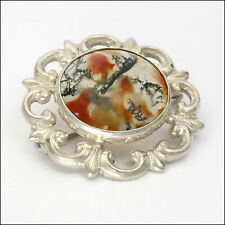 Scottish Moss Agate and Sterling Silver Brooch
