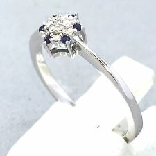 "DAINTY 9CT WHITE GOLD SAPPHIRE & DIAMOND ENGAGEMENT RING SIZE ""N""   1105"
